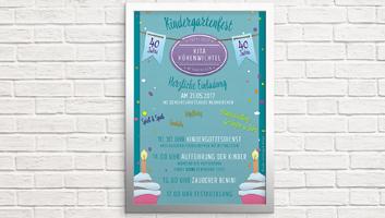 Anzeige und Plakat Kindergarten Neunkirchen / Höhenwichtel zum 40. Geburtstag des Kindergartens